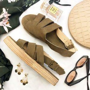 Matisse Taupe Suede Slingback Toe Loop Sandals